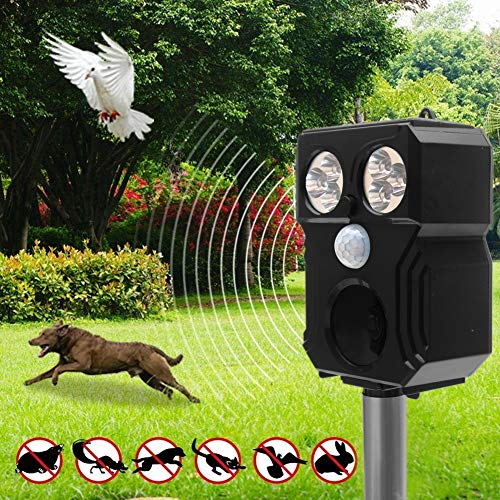 Cat Repellent, Solar Powered Ultrasonic Animal And Bird Repeller, IP67 Waterproof Pet Repellent With Motion Sensor and 6 LED Flashing Light For Garden, Yard, Farm (Black)