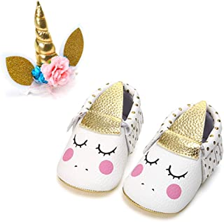 PanGa Baby Boys Girls Mary Jane Shoes with Unicorn Headband Soft Sole Non-Slip Toddler Party Dress Shoes