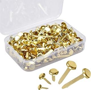 300 Piezas Mini Encuadernadores, Mini Scrapbooking Brads de Metal, Cierre de Papel Redondo con Caja de Almacenaje para DIY...