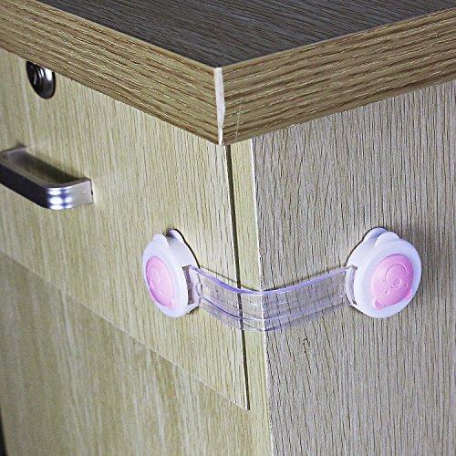 Home para inodoro puerta armario armario armario cajón nevera caja de seguridad Safety Lock Latch para Bebé Niño Infant Toddler Kids Azul 10unidades, plástico, Bear pink & White short