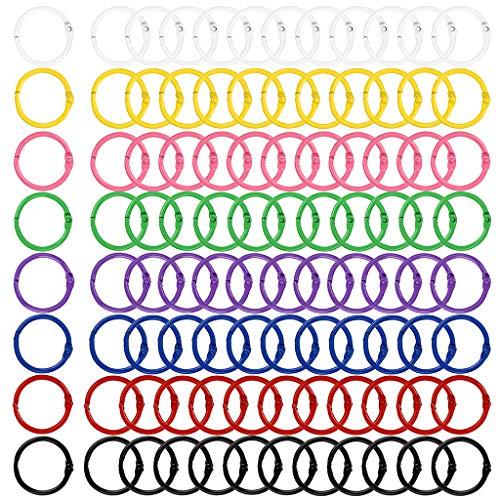 BSTKEY - 96 anillas de metal de 30 mm (8 colores distintos) para encuadernación de libros, hojas sueltas, como llavero, y para fichas, documentos y muestras