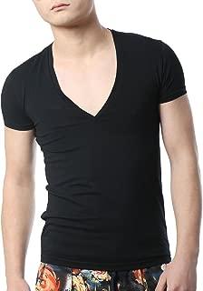 Men's V Neck T Shirts Tight Tee Stepped Hem