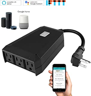 Lrifue IP44 Waterproof (1 In 3 Out) Grounded Outlets Wi-Fi Wireless Outdoor Outlet Wifi Smart Plug Outdoor Outlet No Hub Required Compatible with Amazon Alexa and Google Home Assistant