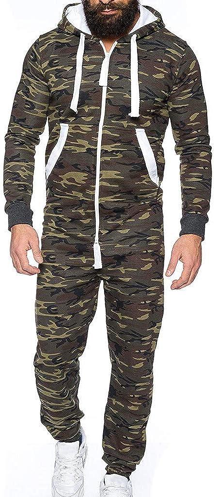 WUAI-Men Unisex Hooded Onesie Jumpsuit Romper Overall Zip up One Piece Pajama Playsuit Sportswear