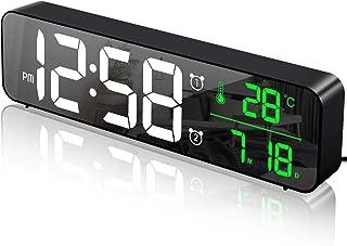 MOSUO Reloj Despertador Digital Reloj de Pared con Temperatura Tiempo Fecha 10 Gran Pantalla LED Espejo Reloj Digital c...