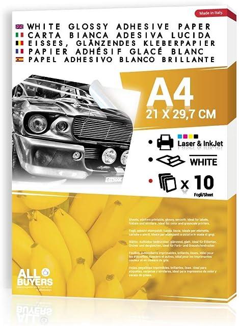 Hojas Papel Adhesivo Blanca Brillante autoadhesivo Tamaño A4–Etiquetas y pegatinas personalizadas Glossy para impresión láser e inyección de tinta de inyección de tinta blanca adhesivo imprimible