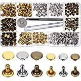 Leather Rivets Double Cap Rivet Tubular Metal Studs 2 Sizes with 3 Fixing Tool Kit for Leather Craft Repairs Decoration (Gold, Silver and Bronze,180 Set)