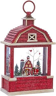 "Raz Imports 10.75"" Lighted Santa Near Barn Water Barn Shaped Lantern Lighted Christmas Snow Globe with Swirling Glitter"