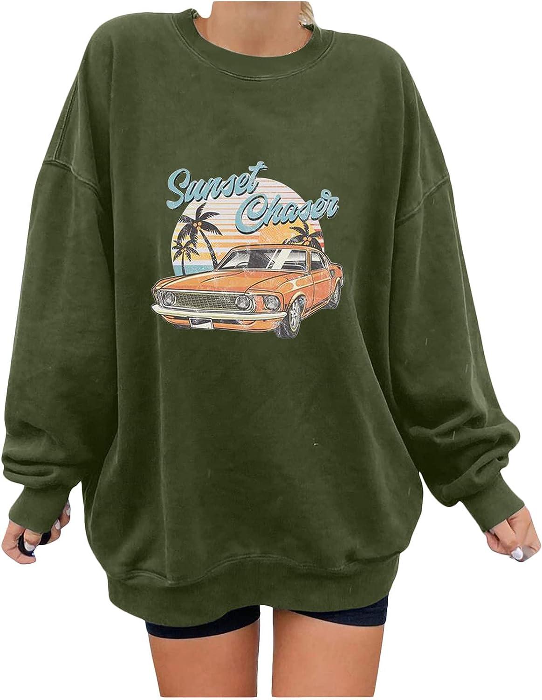 Women's Oversized Dressy Tunic Blouse Vintage Car Print Loose Tops Long Sleeve Crewneck Hawaiian Graphic Pullovers