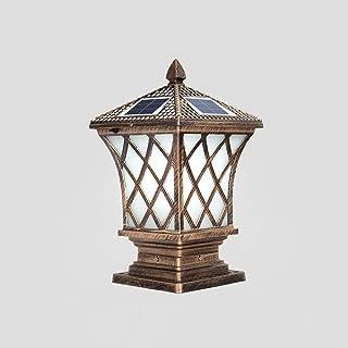 XIAOXY Outdoor Waterproof Solar Pillar Column Light LED Antique Tradition Villa Doorpost Fence Light Balcony Pillar Square Table Lamp Pillar Bollard Lamp Garden Decoration Lights (Size : L)