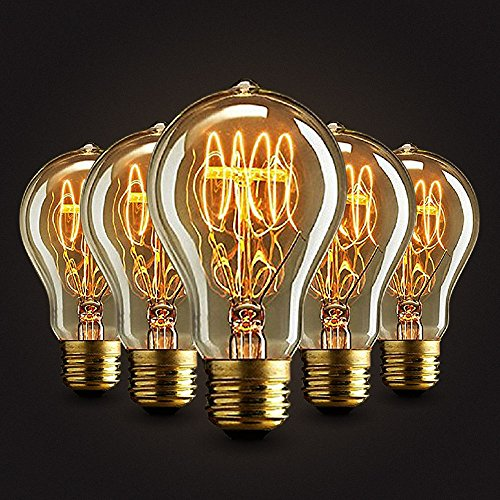 Neverland Vintage E27 40W rosca Edison Bombilla A19 antiguo filamento tungsteno Loop Estilo Quirrel Cage filamento de tungsteno cristal bombillas luz blanca cálida 5pcs