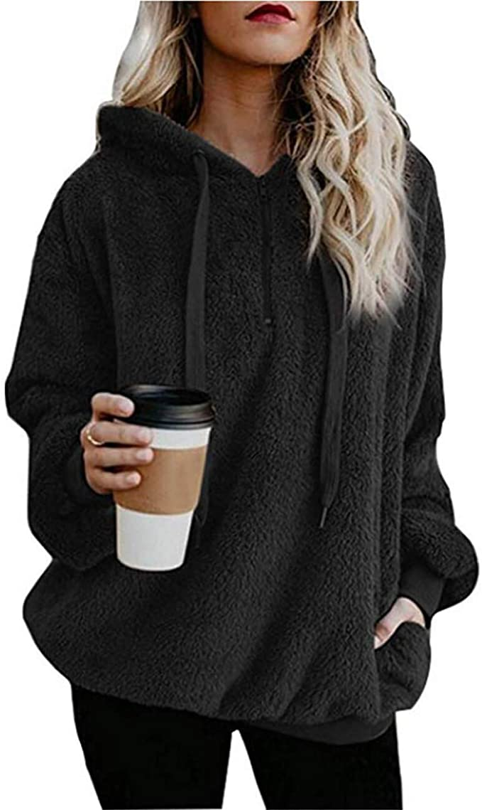 MUMUBREAL Women's Oversized Sherpa Long Sleeve Pullover Zip Sweatshirt Fleece Hoodies with Pockets