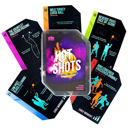 Hot Shots Basketball Drill Cards | 64 Waterproof Plastic Cards