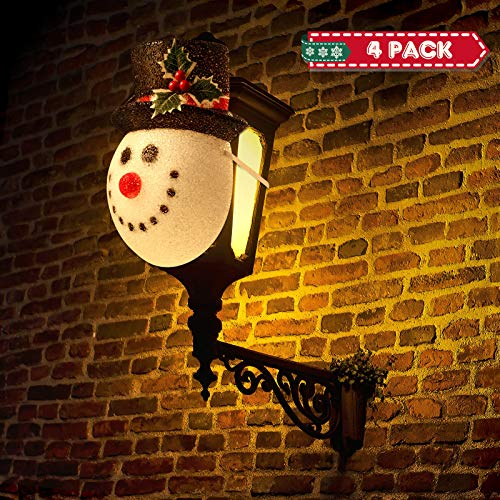 4 Pieces Christmas Snowman Outdoor Decorative Lamp Shade for Porch Lights, Garage Lights, Side Doors and Other Christmas Decorations