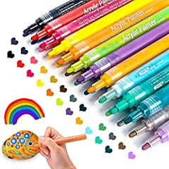 【Acrylic Vibrant Colors】JR.WHITE paint pen set of 12 assorted colors, enable to draw or add embellishments to your wood craft, glass jars, easter plastic eggs, christmas balls, cards, painted rocks, stones, canvas shoes, wood slices, wood eggs,clay p...