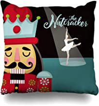DIYCow Throw Pillows Covers Colorful Announcement Christmas Nutcracker Wooden Soldier Toy from Ballet Ballerina Home Decor Pillowcase Square Size 20 x 20 Inches Cushion Case