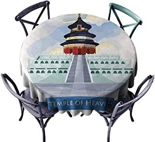 Playyee Ancient China Circular Table Cover Illustrated of Heaven in Beijing Historical Landmark Icon Monastery Dining Round Tablecloth Multicolor Diameter 36