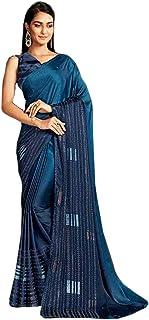 Designer Indian Blue Cocktail Party Swarovski Embellished Saree Blouse Woman Sari 6584 2