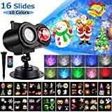 LED Christmas Projector Lights, Yokgrass 2-in-1 Ocean Wave Projector Light with 16 Slides Patterns 10 Colors Waterproof Outdoor Indoor Holiday for Halloween Xmas Birthday Party Landscape Decorations