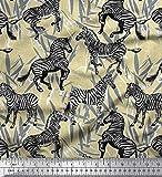 Soimoi Beige Viskose Chiffon Stoff Blätter, und Zebra Tier