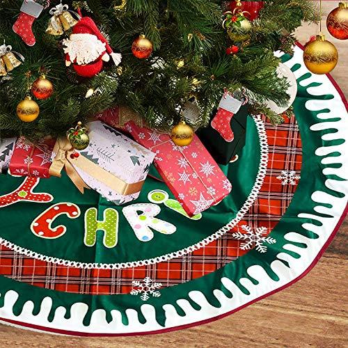 FLYFLY Gonna per Albero di Natale, Tappetino per la Base dell'Albero di Natale 40 Inches Albero di Natale Vacanze gonne Decorazioni (Lettera)