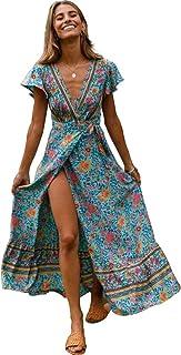 HHIMNO Women's Summer Dresses Wrap V Neck Bohemian Vintage Floral Printed Ruffle Hem Flattering Mini Dress with Belt