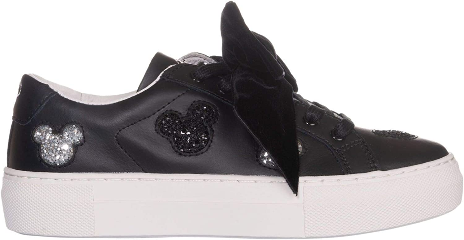 MOA Women's MD216M08B Black Leather Sneakers