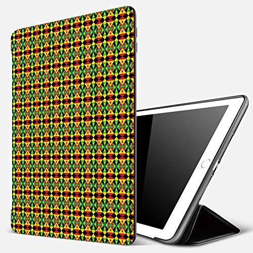 Funda iPad 10.2 Inch 2018/2019,Patrón de Kente, diseño de Mosaico de Patrimonio indígena con triángulos y círculos Namibia Botswana, Multicolor,Cubierta Trasera Delgada Smart Auto Wake/Sleep