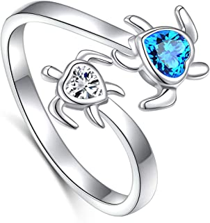 Ladytree S925 Sterling Silver Turtle Animal Open Ring Sea Turtle Heart CZ Adjustable Bypass Nature Ocean Ring,Size 7