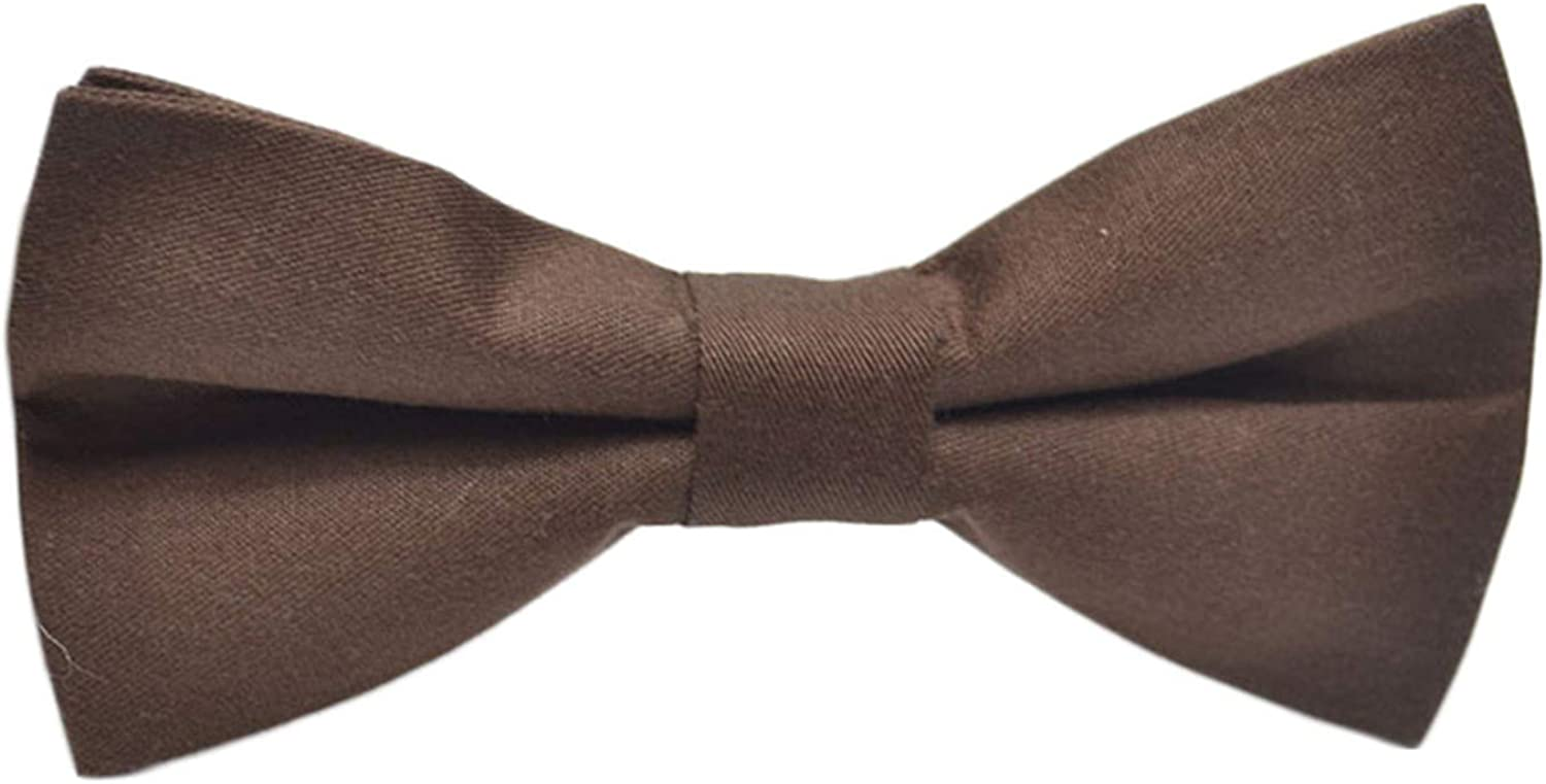 Andongnywell Classic Pre-Tied Bow Tie Solid Color Cotton Bowtie Formal Solid Tuxedo for Adults & Children