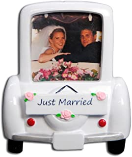Personalized Wedding Car Picture Frame Christmas Tree Ornament 2019 - Vintage Just Married Romantic Ceremony Photo Display Newlyweds Love Couple I do Memory Milestone Gift Year - Free Customization