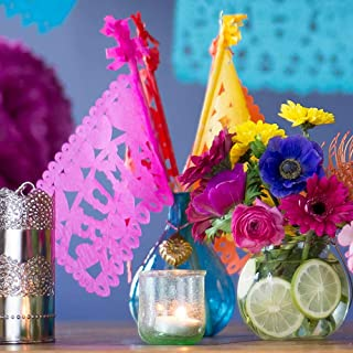 Cultural Intrigue Luna Bazaar Mexican Paper Flags, Papel Picado Banderitas, Fiesta Decorations (Assorted Colors, Set of 10)