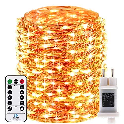 RcStarry innen/Außen 1000 LEDs 100 Meter kupferdraht aufblitzende Lichterkette IP68 Wasserdicht 8 Modi mit Fernbedienung und Timer DIY Dekoration für Weihnachten, Garten, Hochzeit - Warmweiß