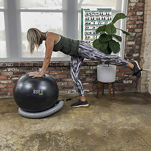 Gearrific Workout Ball Set: Exercise Ball with Resistance Bands, Inflatable Stability Base, Guided Poster & Pump