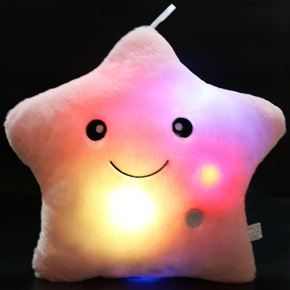 Yellow Tickos Star Soft Pillow LED Glowing Star Cushion Creative Star Plush Toy Light Up Night Light Decoratin for Home Bedroom Living Room