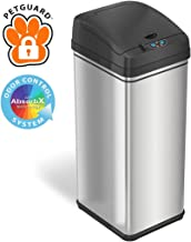 iTouchless 13 Gallon Pet-Proof Sensor Trash Can with AbsorbX Odor Filter Kitchen Garbage Bin Prevents Dogs & Cats Getting in, Battery and AC Adapter, Stainless Steel with PetGuard