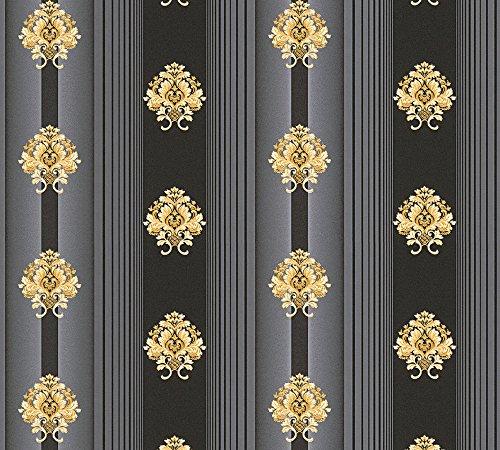 A.S. Création Vliestapete Hermitage 10 Tapete klassisch neo-barock 10,05 m x 0,53 m grau metallic schwarz Made in Germany 330846 33084-6