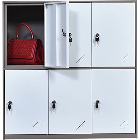 Steel Office Locker Cabinet with Keys, School and Home Storage Locker Organizer,Kids Locker for Cloth and Toy Organizer,Living Room Boy and Girl Metal Storage Locker Cabinet (White)