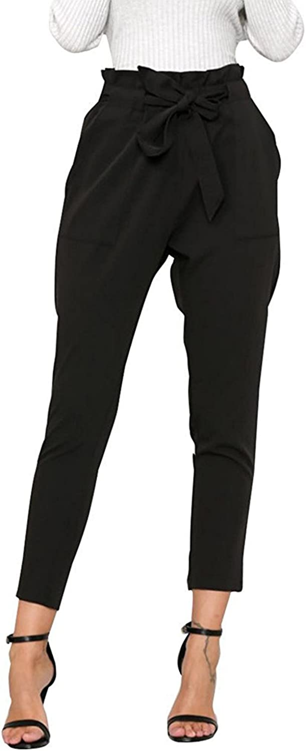 Luckyauction Women's Slim Straight Leg Stretch Casual Pants High Waist Long Pants With Pockets