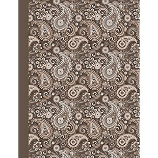 """Composition Notebook Paisley Brown Taupe - College Ruled  Glossy Softcover Book - Home Office, High School Students, Diary Writing Journal Paper  7.44"""" x 9.69"""" - 100 sheets / 200 lined pages:Interoot"""