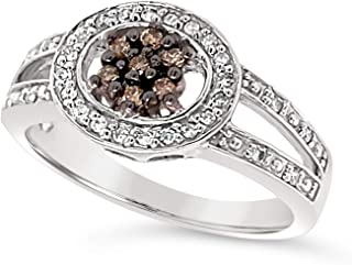 14k White Gold Chocolate Brown and White Diamond Mini Cluster Halo Ring For Women (1/5 Carat)