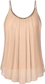 Women's Pleated Chiffon Layered Sleeveless Cami Tank Tunic Top (S-3XL)