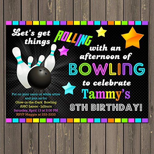 bowling glow in the dark themed birthday party invitation gender neutral neon look bowling party invitation
