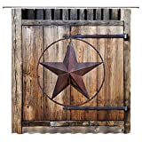 Antique Western Shower Curtain Rustic Texas Star Farmhouse Vintage Barn Door Garage Country Style Man Boy Bathroom Decor Fabric Bathroom Set Hook 70x70 Inch Brown
