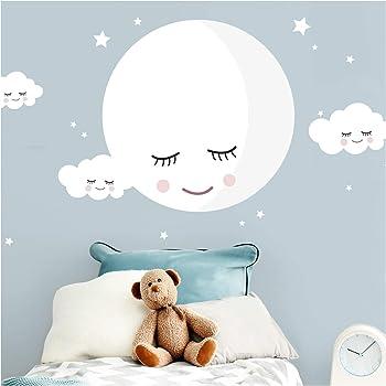 Wandtattoo Mond mit Bär in braun und Wolken Wandsticker Kinderzimmer