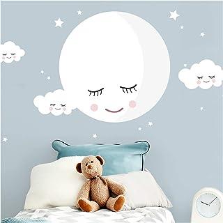 Little Deco DL245 - Adhesivo decorativo para pared, diseño de luna y nubes, color blanco, vinilo, Blanco, M - 30 x 30 cm (BxH)