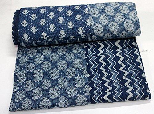 CRAFTOFPINKCITY Indigo Farbe Hand Block gedruckt Kantha Steppdecke, Queen Size Patchwork Baumwolle Tagesdecke,