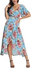 Azalosie Wrap Maxi Dress Short Sleeve V Neck Floral Flowy Front Slit High Low Women Summer Beach Party Wedding Dress