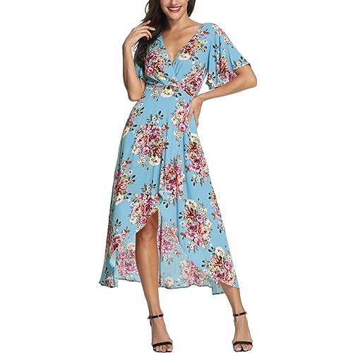 35ef812e26 Azalosie Wrap Maxi Dress Short Sleeve V Neck Floral Flowy Front Slit High  Low Women Summer