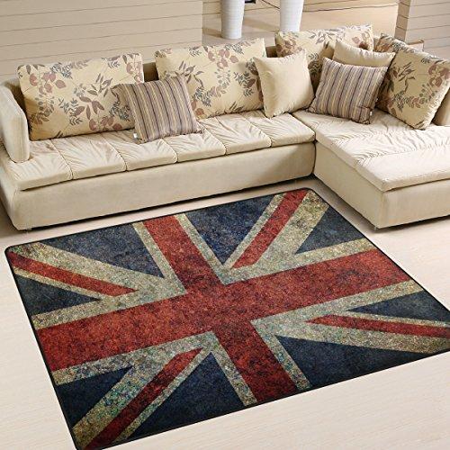 Use7 Tapis style shabby avec drapeau britannique Union Jack pour le salon, la chambre à coucher 160 cm x 122 cm
